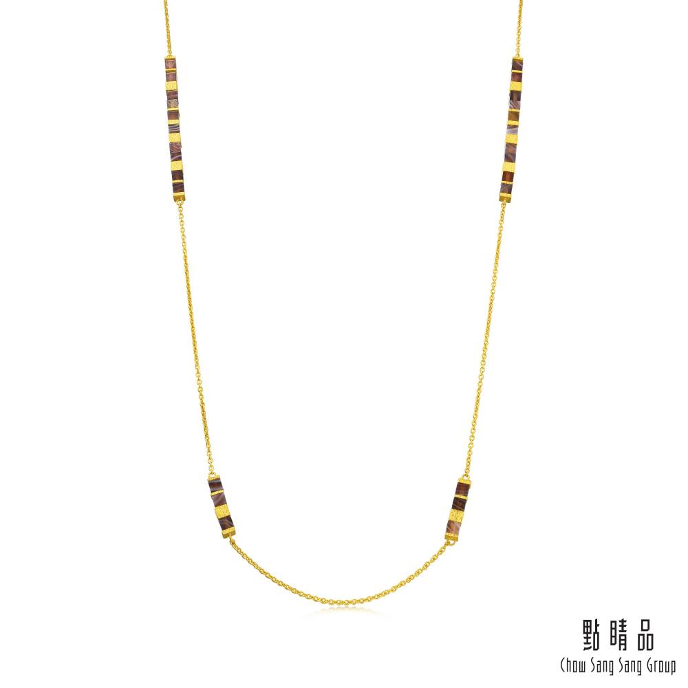 點睛品 g*系列 方形幾何瑪瑙黃金項鍊(長鍊)