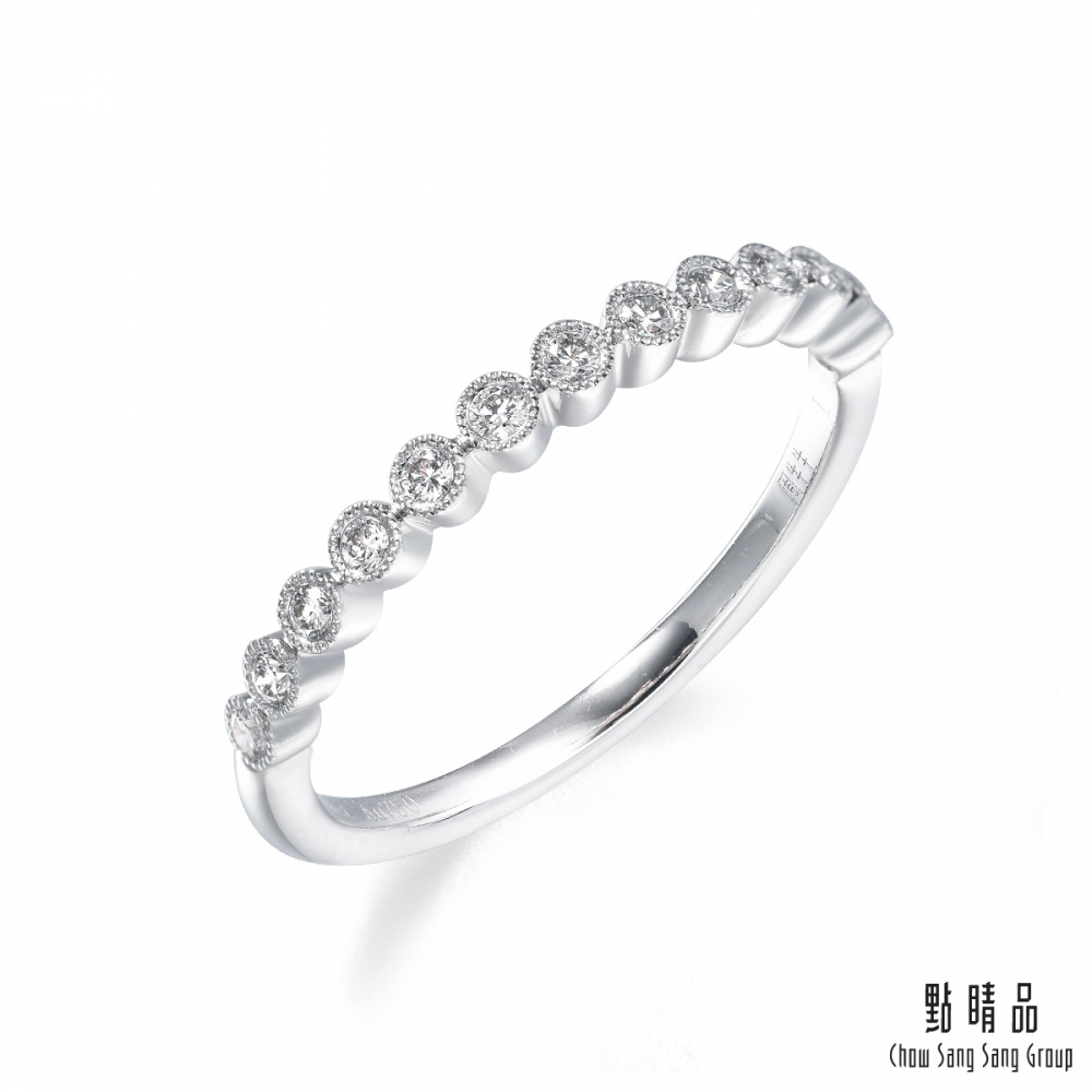 點睛品 Fingers Play 10分 圓珠排鑽18K金鑽石戒指