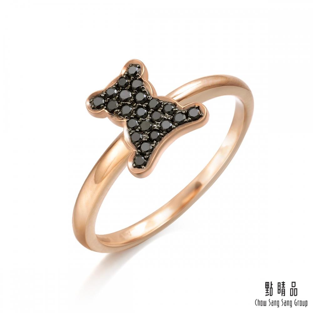 點睛品 Fingers Play 15分 黑色小熊18K玫瑰金鑽石戒指