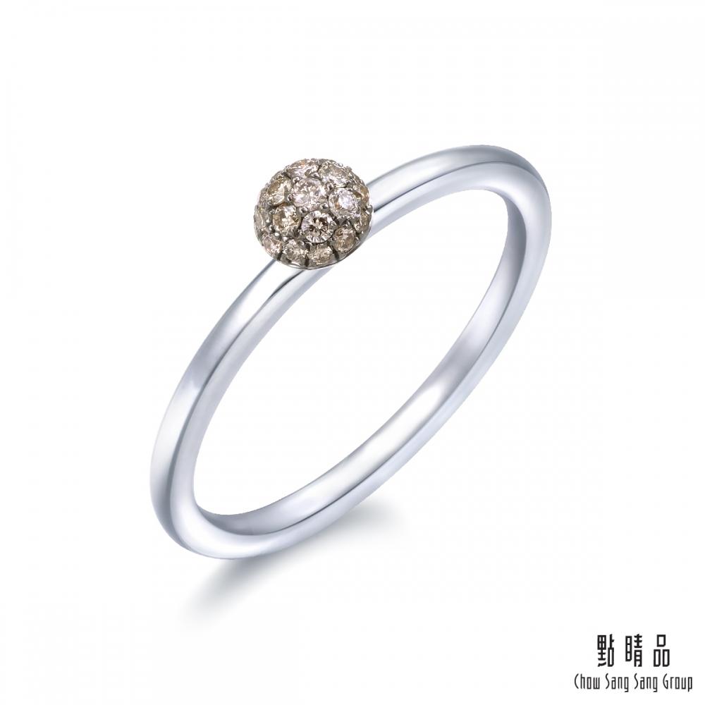 點睛品 Fingers Play 10分 馬卡龍18K金啡色鑽石戒指