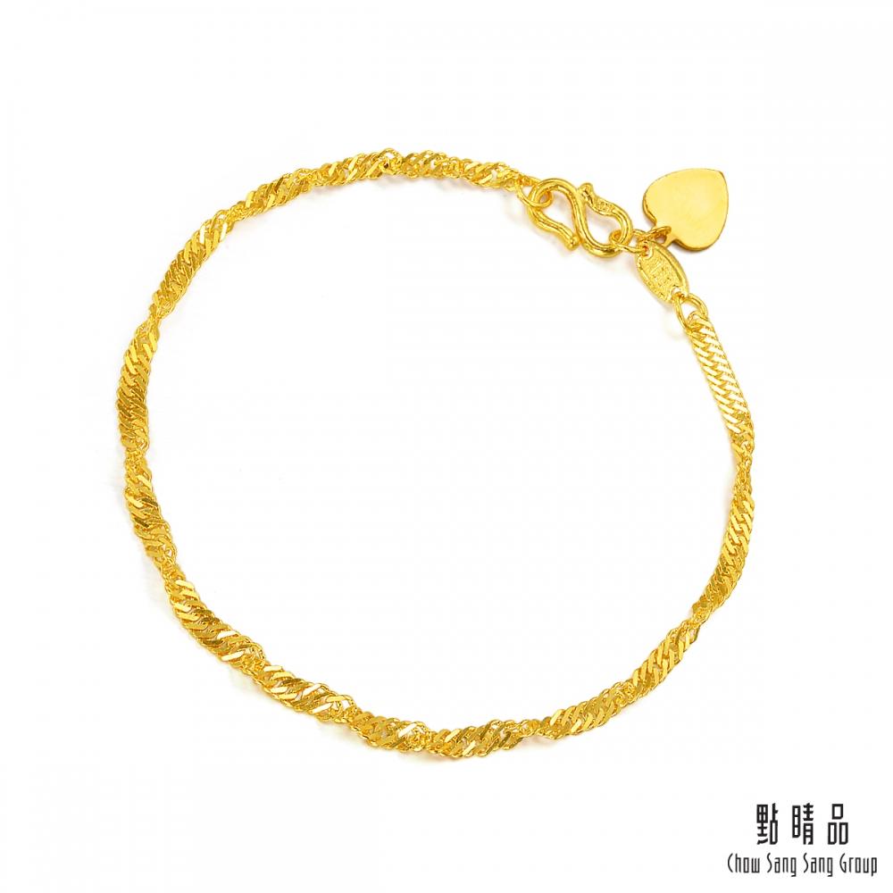 【領券再折】點睛品 波浪水紋黃金手鍊-計價黃金
