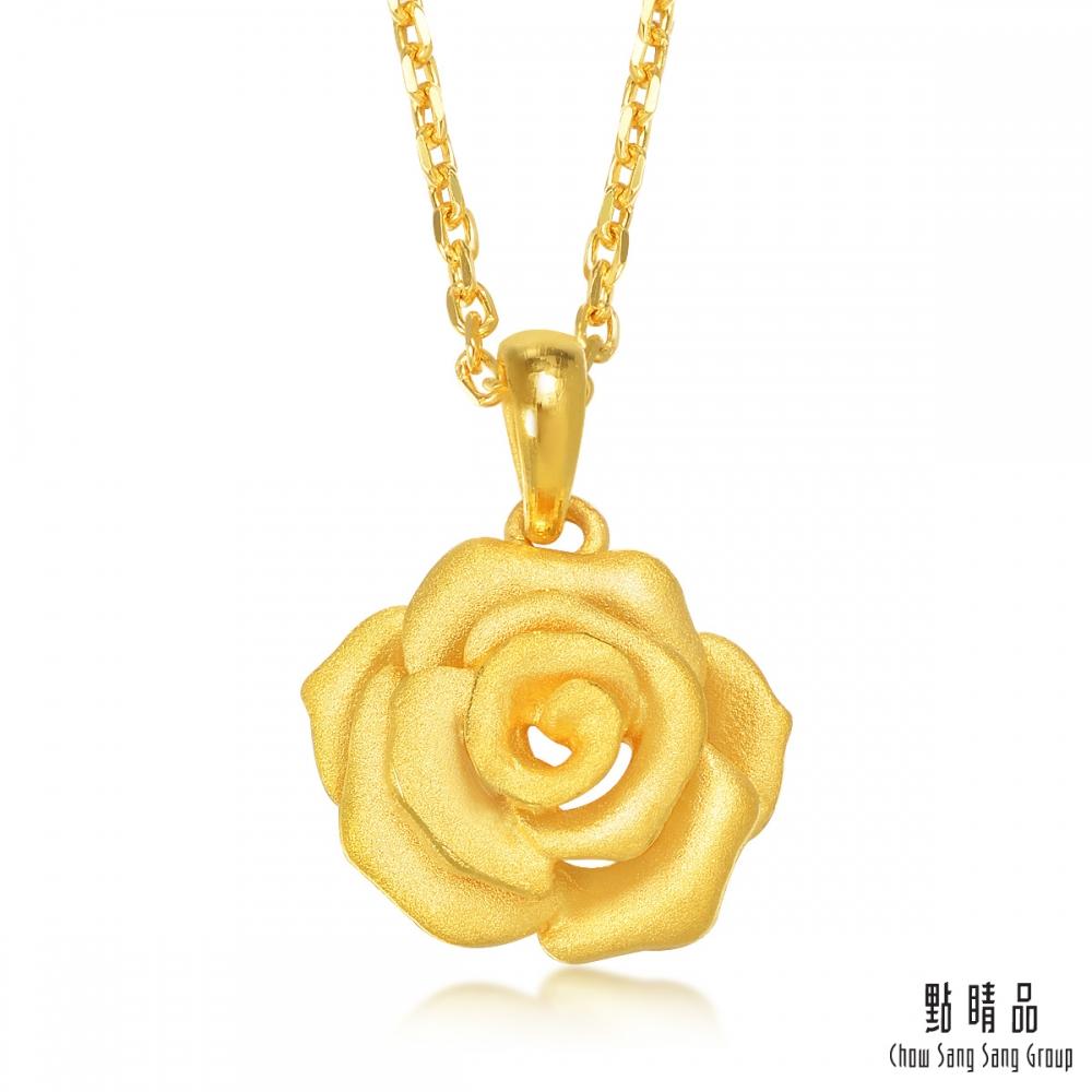 點睛品 華麗玫瑰黃金吊墜-計價黃金