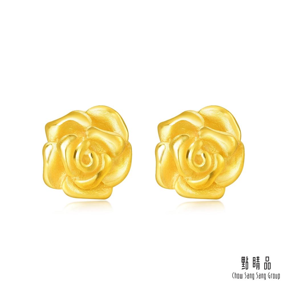 點睛品 時尚玫瑰黃金耳環-計價黃金