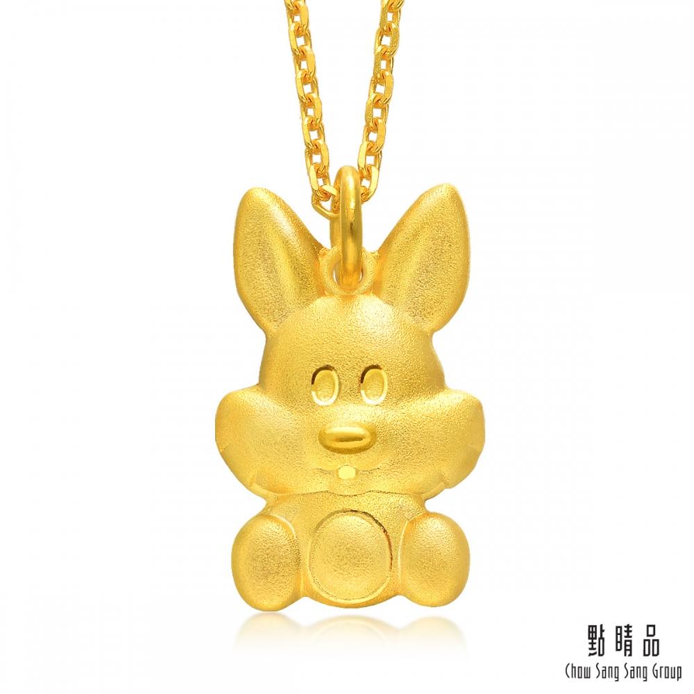 點睛品 十二生肖 聰明兔 彌月黃金吊墜-計價黃金