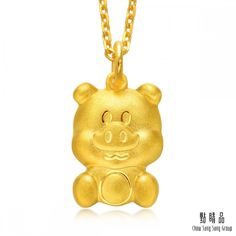 點睛品 十二生肖 聰明豬 彌月黃金吊墜-計價黃金