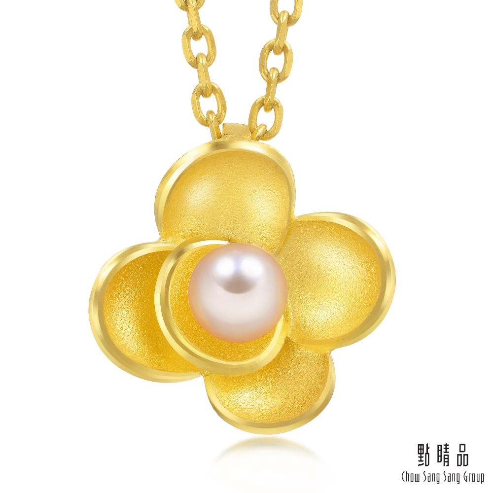 點睛品 理想的愛 山茶花珍珠黃金吊墜-計價黃金