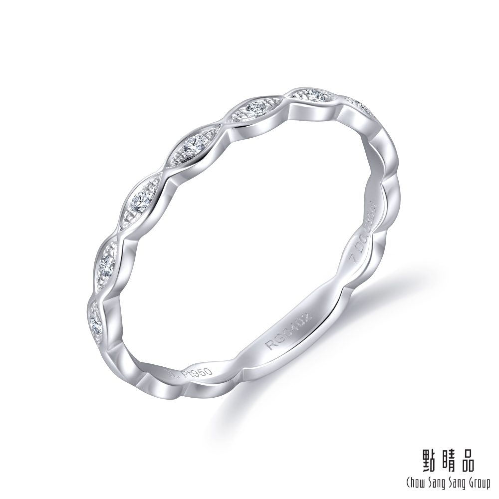 點睛品 Daily Luxe 時尚流線 鉑金鑽石戒指