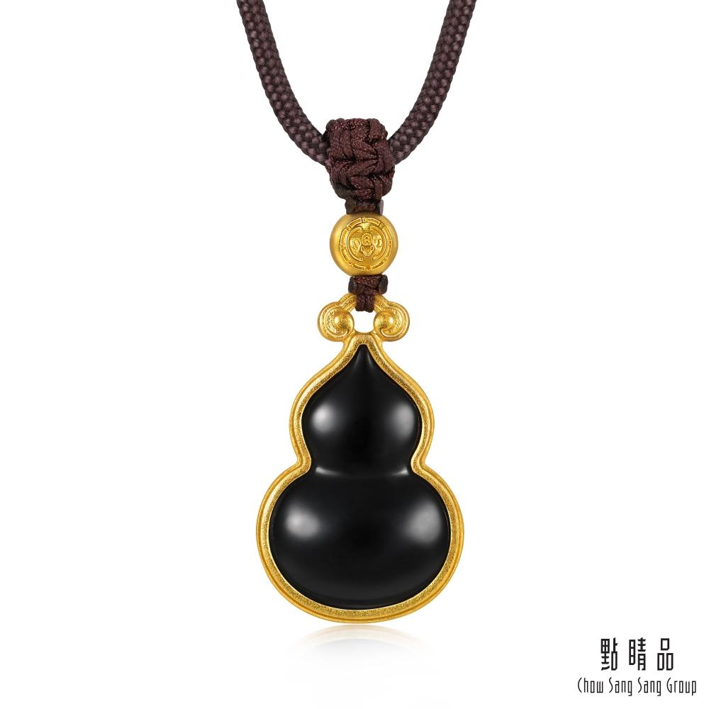 點睛品 東方古祖 黑曜石葫蘆 黃金項鍊