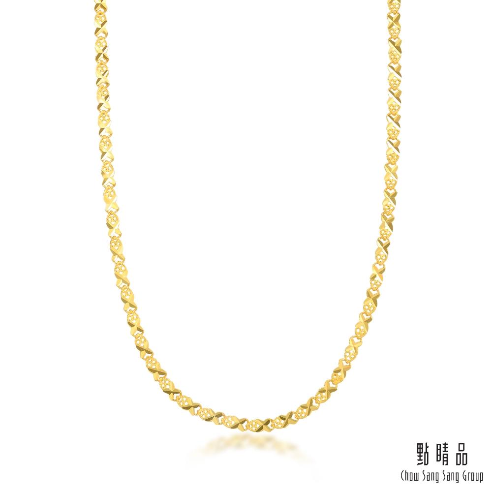 點睛品  機織素鍊 十字鑽砂 黃金項鍊_計價黃金(50cm)