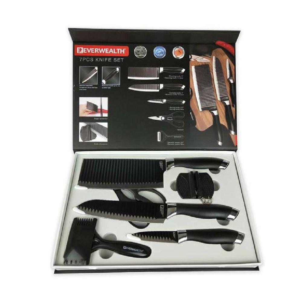 黑色扎紋不鏽鋼七件式刀組 AK-04057