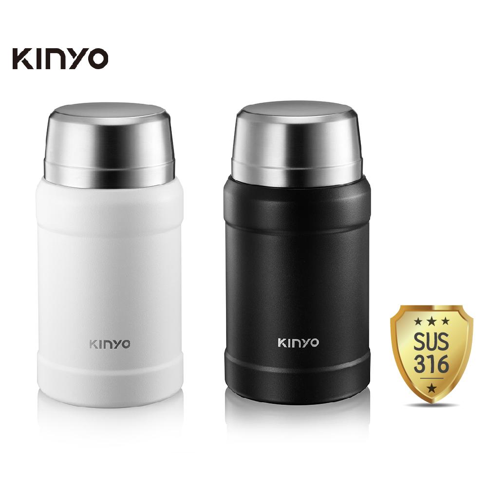 KINYO 316不鏽鋼真空燜燒罐800ml附湯匙/提袋 KIM-48