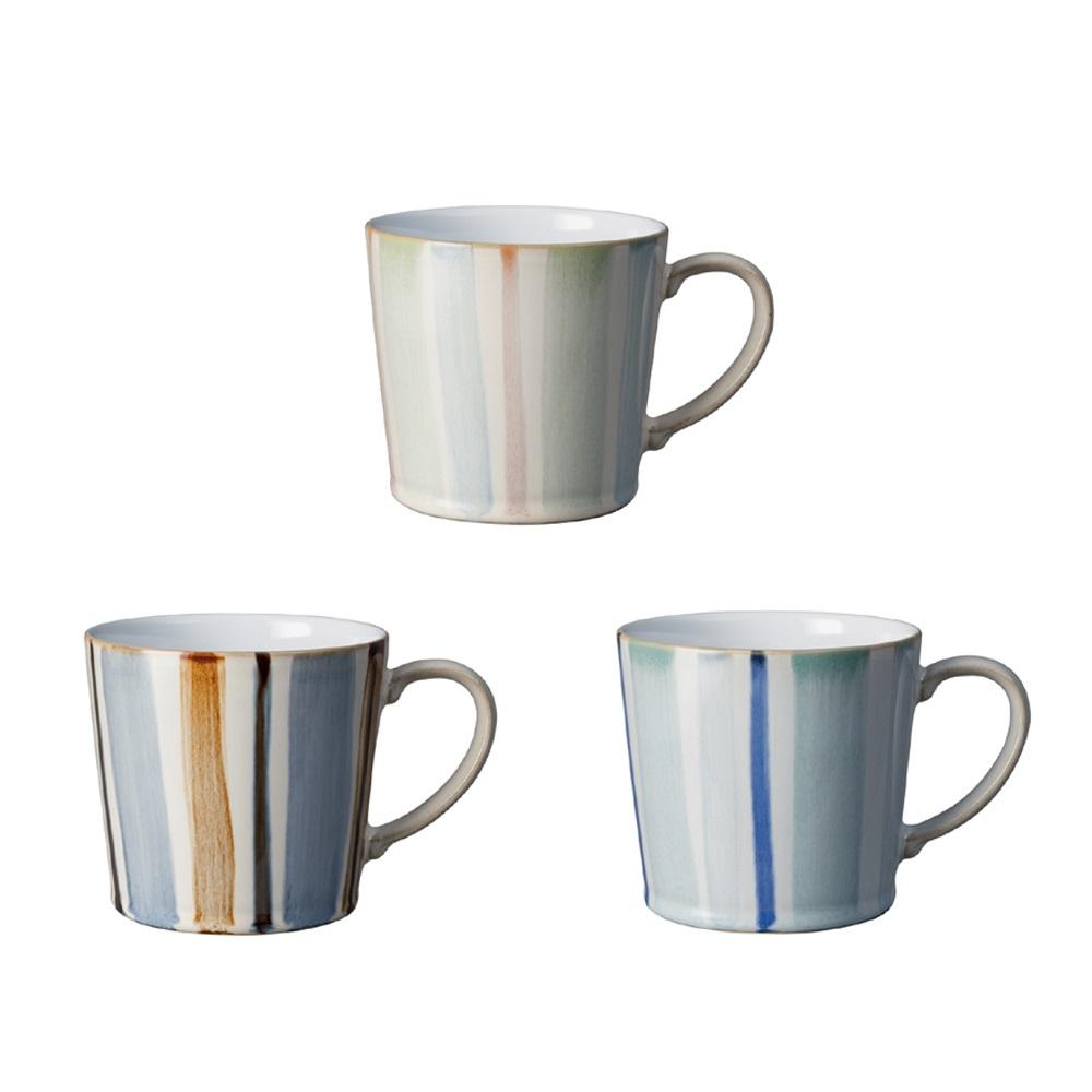 【Denby】巧匠條紋馬克杯三入組