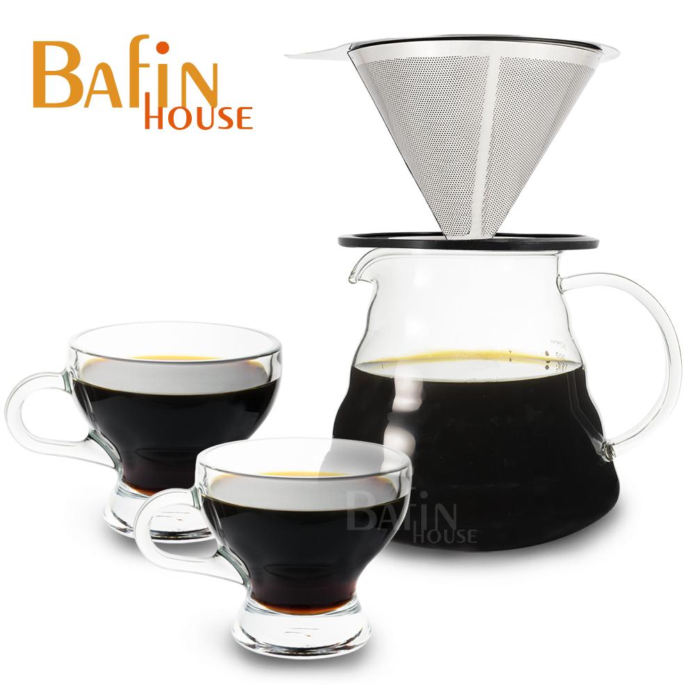 【Bafin House】不鏽鋼雙層濾網+雲朵耐熱玻璃壺及玻璃杯2入組