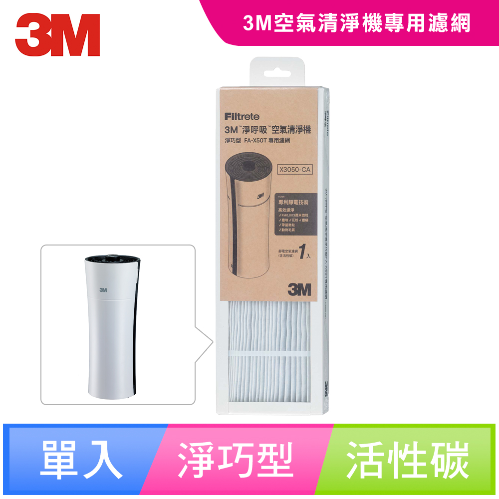 【N95口罩濾淨原理】3M 淨巧型空氣清淨機活性碳濾網X3050-CA(適用FA-X50T/FA-X30)