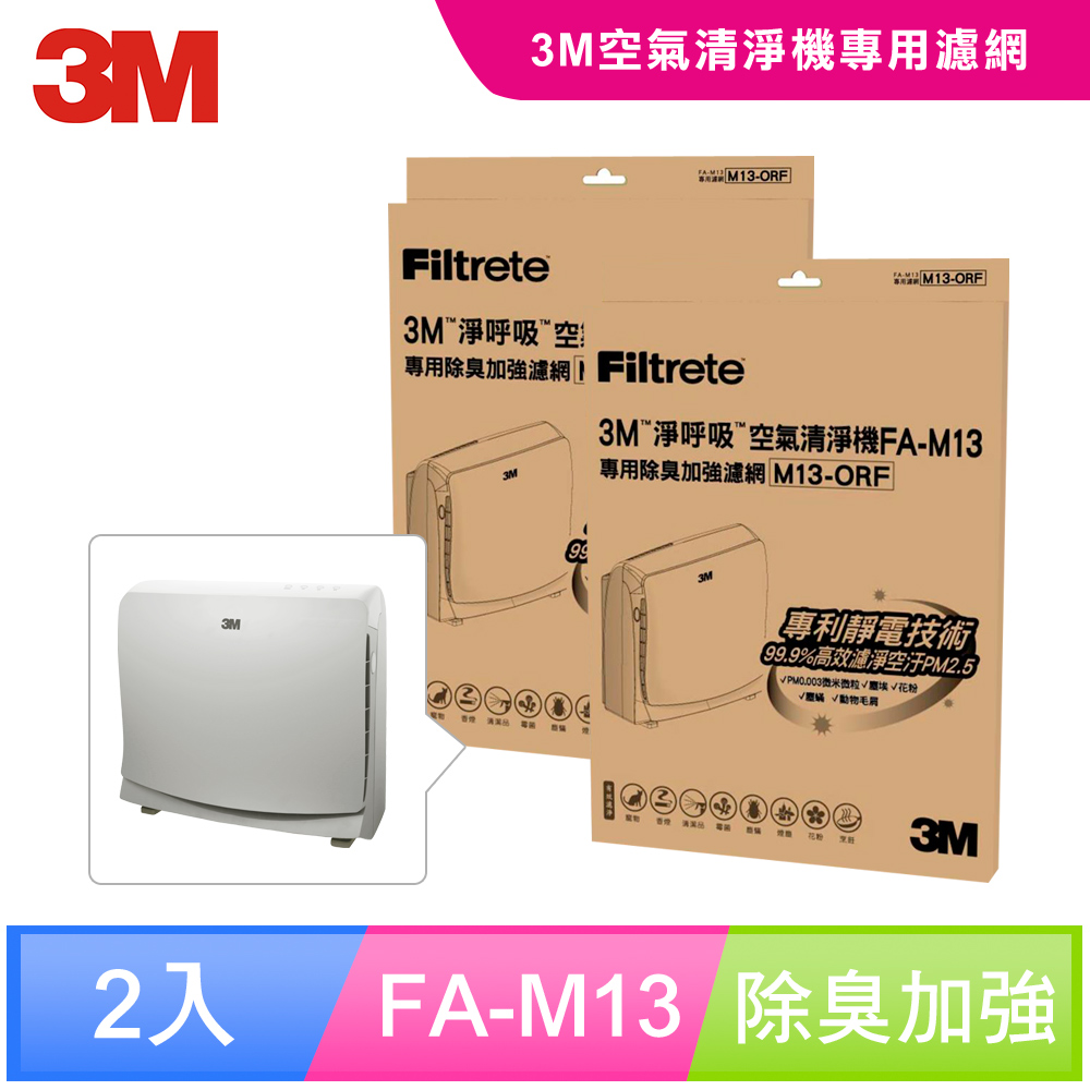 【N95口罩濾淨原理】3M 超舒淨型空氣清淨機FA-M13專用除臭加強濾網-M13-ORF(超值2入組)