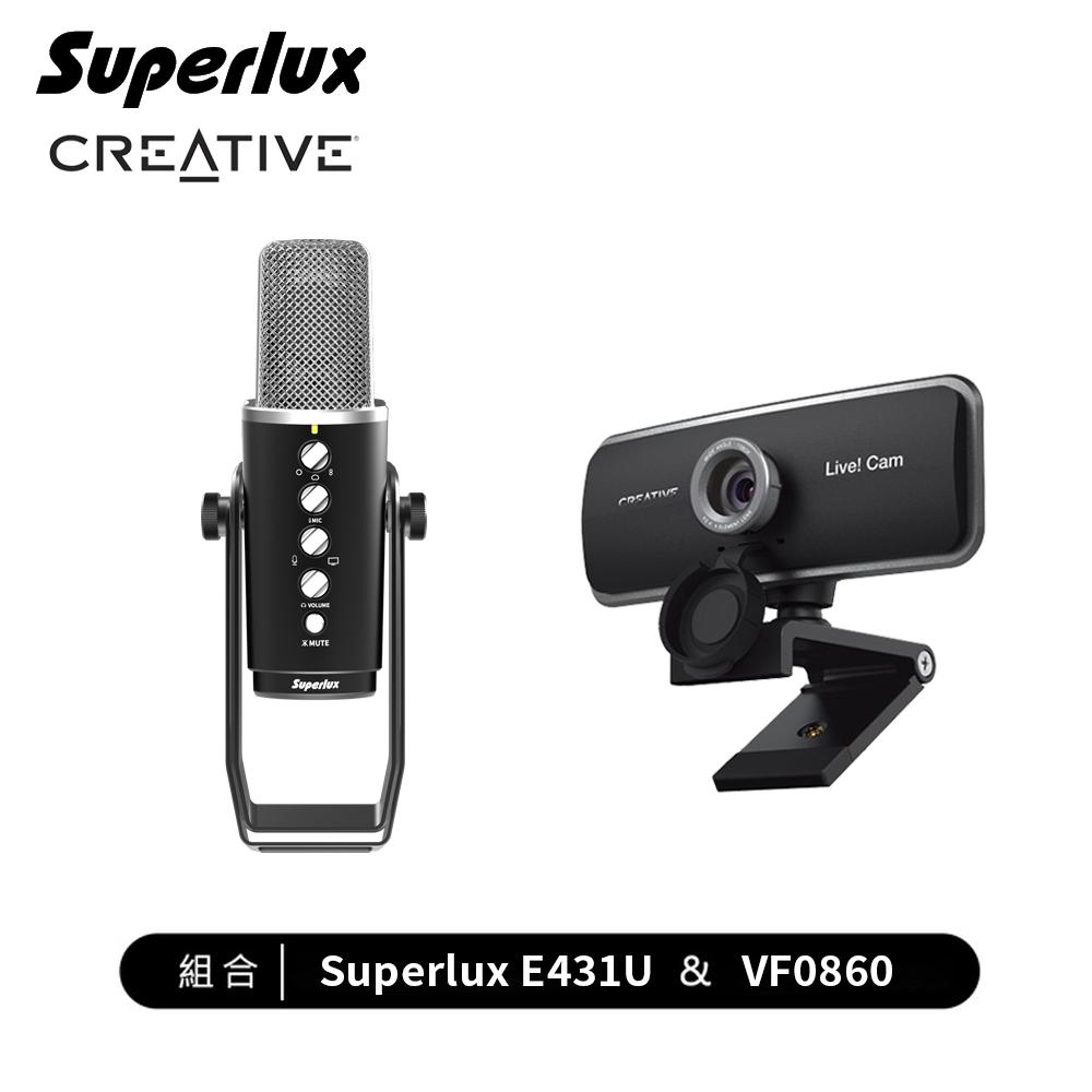 【居家辦公首選組合】Creative 全高清廣角網路攝影機+舒伯樂 E431U 電容式多指向USB麥克風