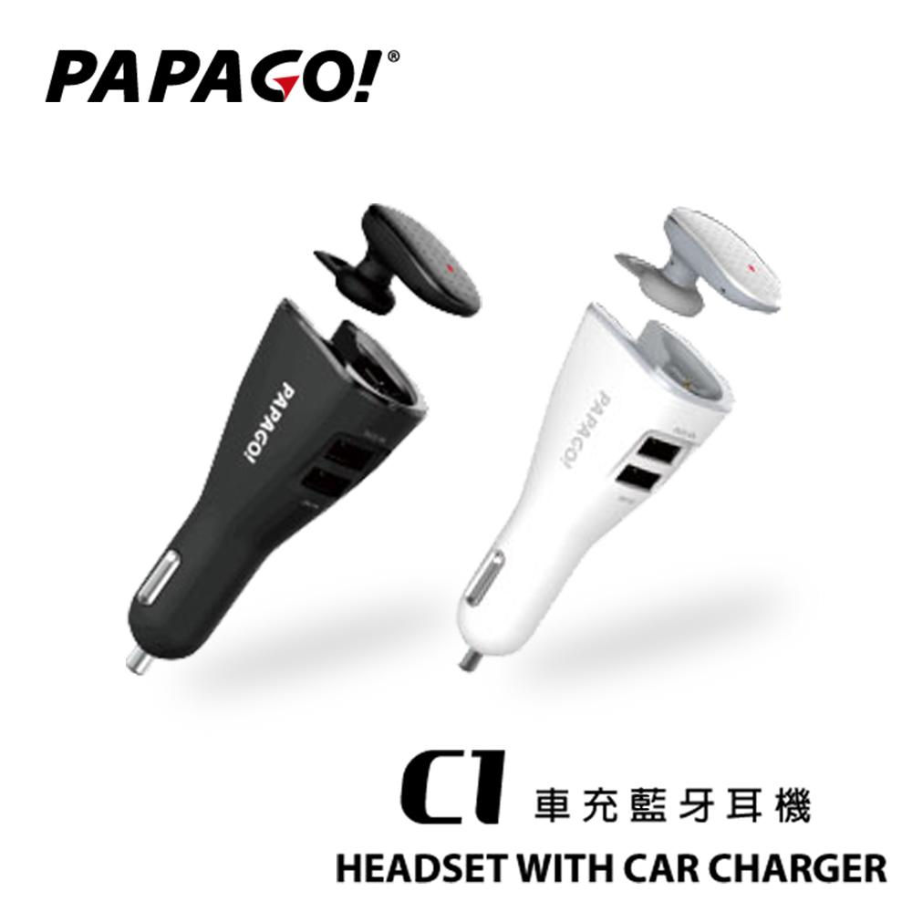 PAPAGO C1雙USB車充藍牙耳機