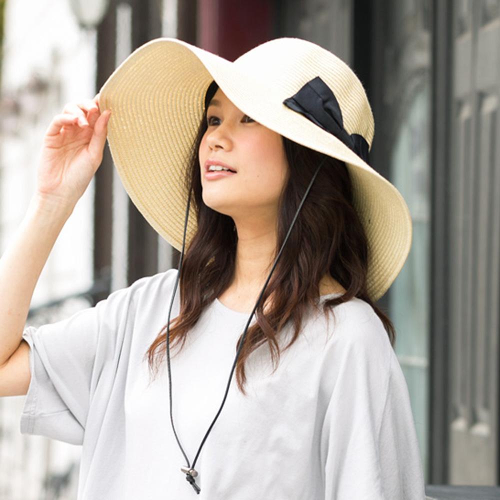 QUEENHEAD日系抗UV抗強風蝴蝶結大寬緣透氣草帽(米色)