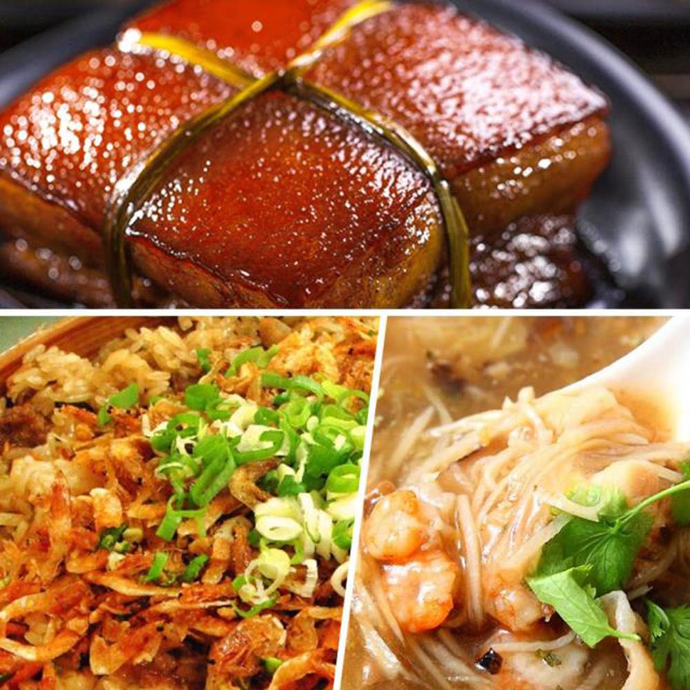 年菜預購-高興宴(大囍臨門)-新春開運年菜饗宴3道組-(筍干東坡肉+干貝米糕+干貝魚翅羹)