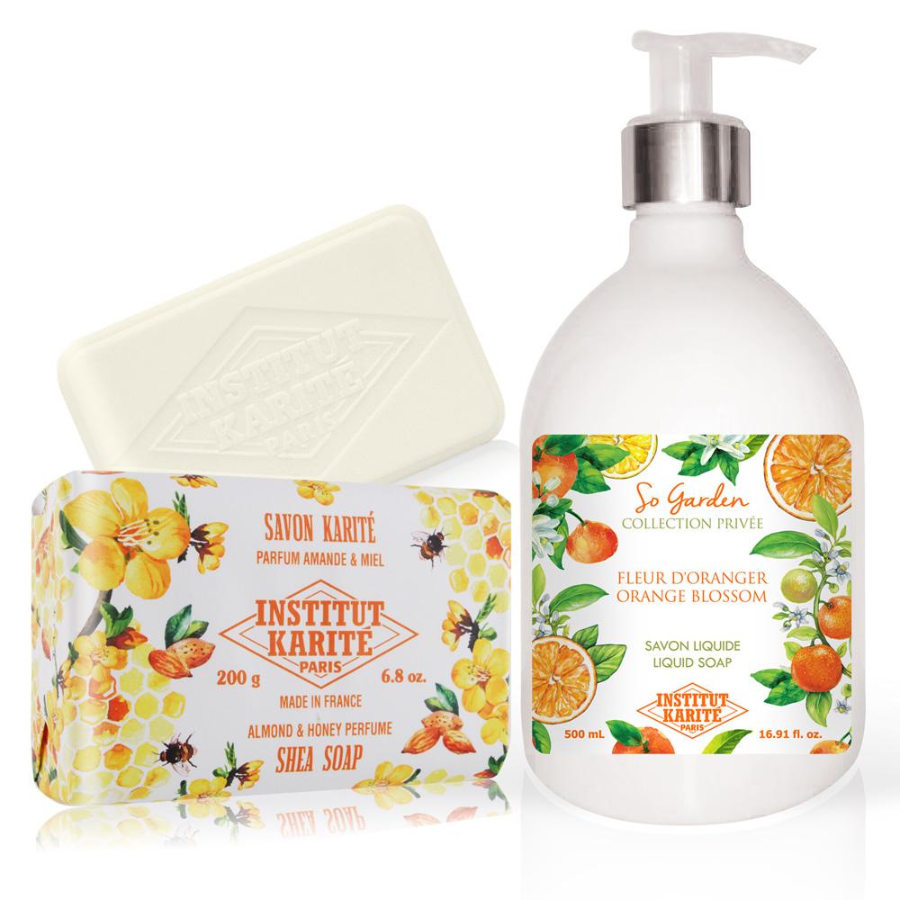 Institut Karite Paris 巴黎乳油木 橙花花園香氛液體皂(500ml)+杏仁蜂蜜手工皂(200g)-公司貨