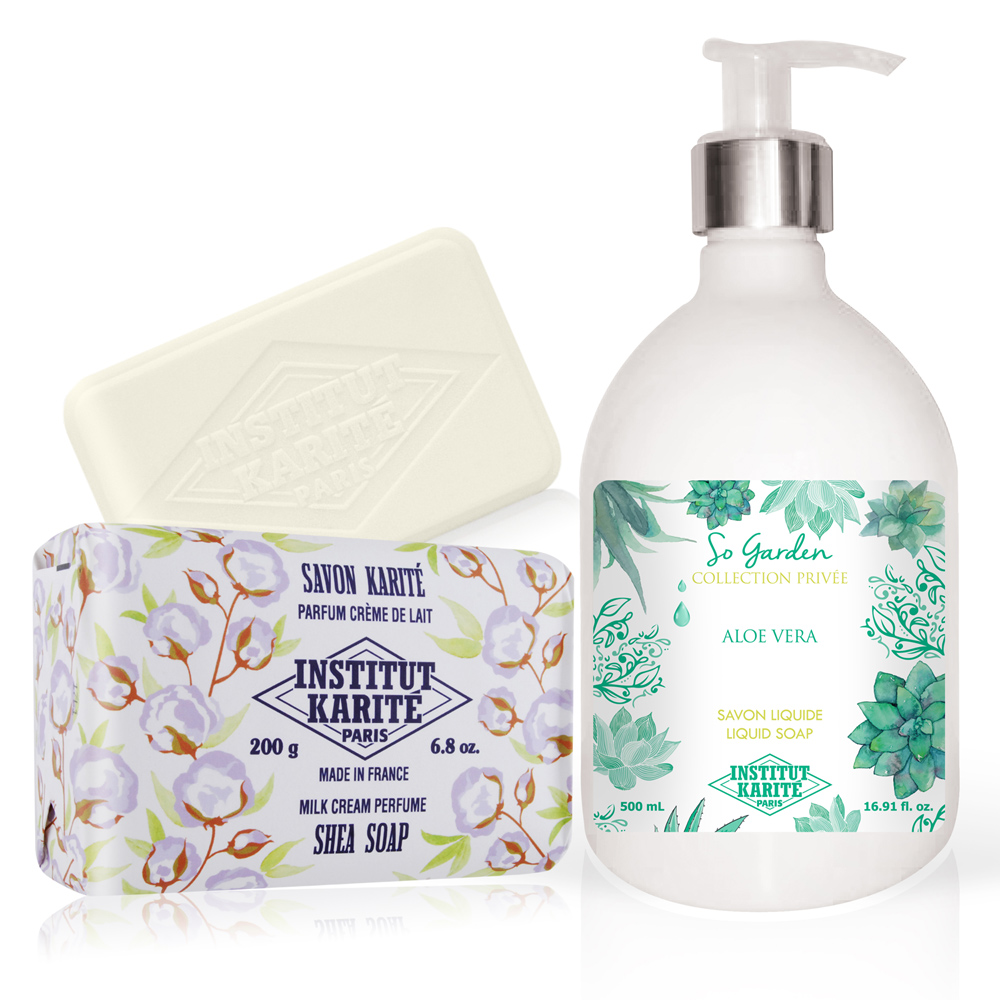 Institut Karite Paris 巴黎乳油木 蘆薈花園香氛液體皂(500ml)+牛奶乳霜手工皂(200g)-公司貨