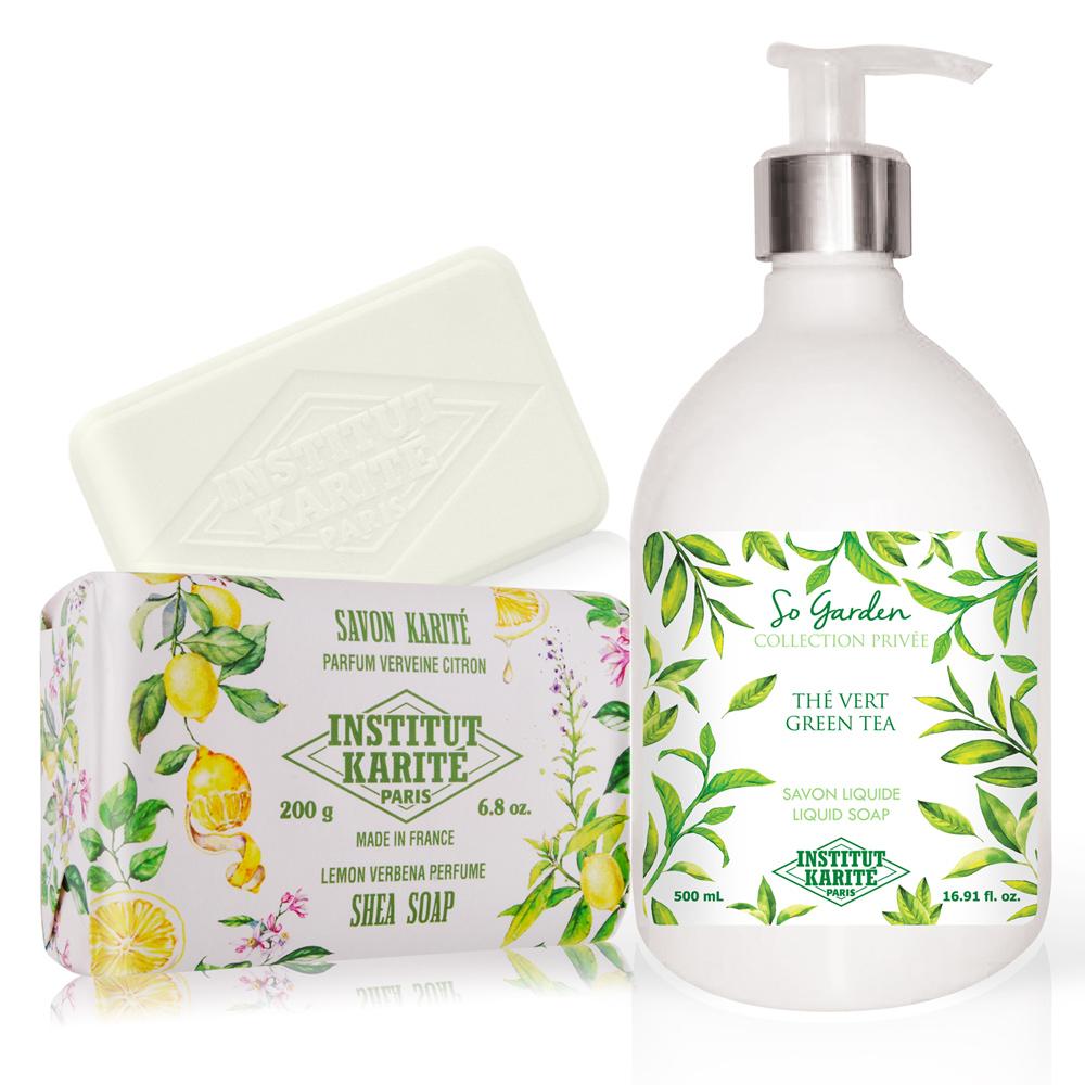 Institut Karite Paris 巴黎乳油木 綠茶花園香氛液體皂(500ml)+檸檬馬鞭草手工皂(200g)-公司貨