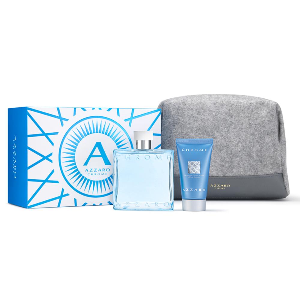 AZZARO 海洋鉻元素春季香氛禮盒(淡香水100ml+洗髮沐浴膠50ml+盥洗包)-公司貨