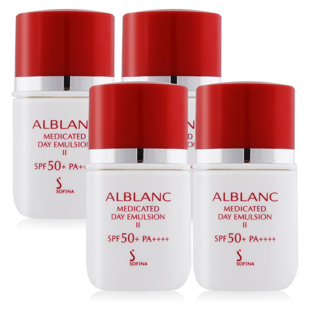 SOFINA 蘇菲娜 潤白美膚盈透UV防護乳II升級版SPF50+/PA++++(9ML)X4[36ml超越正貨容量組]