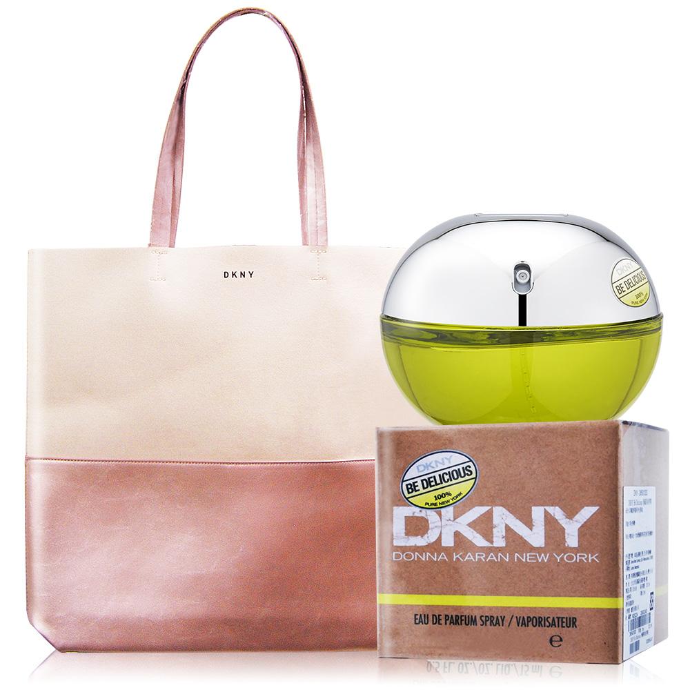 DKNY Be Delicious 青蘋果淡香精 (100ml)+紐約奇遇粉漾托特包-香水公司貨