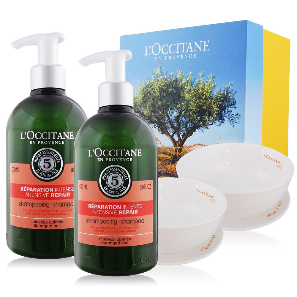 L'OCCITANE 歐舒丹 草本修護洗髮乳(500ml)X2 贈歐蕾碗盤組