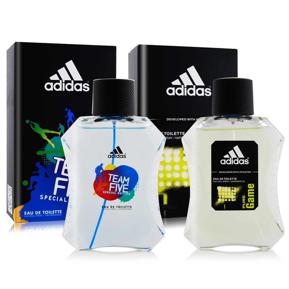 ADIDAS 愛迪達 五人團隊運動+極限挑戰男性淡香水(100mlX2)