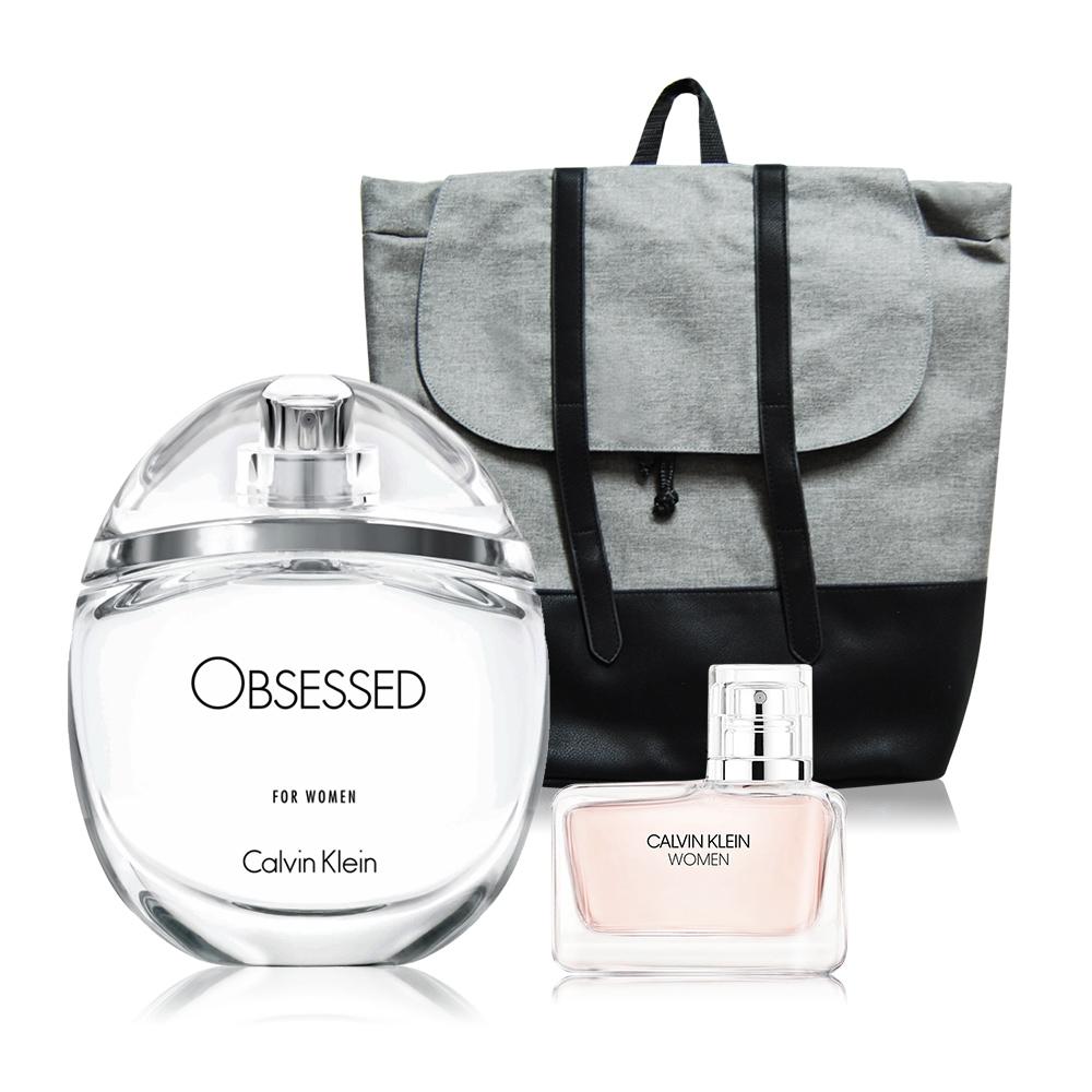 Calvin Klein Obsessed迷上了!(100ml)+Women(5ml)女性淡香精-國際航空版+品牌後背包
