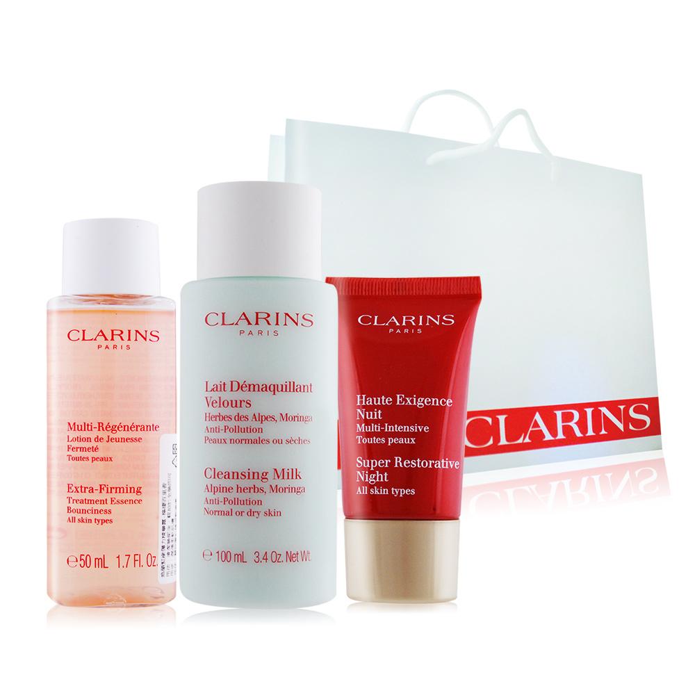 CLARINS 克蘭詩卸妝乳+晚霜+精華露洗卸保養提袋防護組
