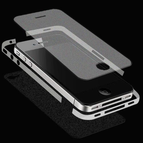 iPhone 4 全機纖薄無重感抗刮保護膜(絲絨霧機背貼+絲絨霧螢幕貼+邊膜)-贈布