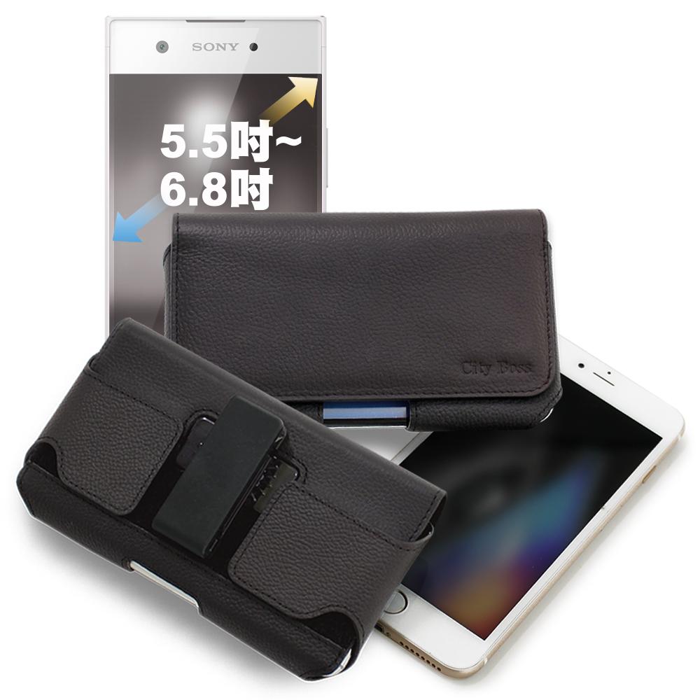 CITY for OPPO AX5/Nokia 5.1 Plus/小米 Pocophone F1嚴選真皮旋轉腰掛皮套