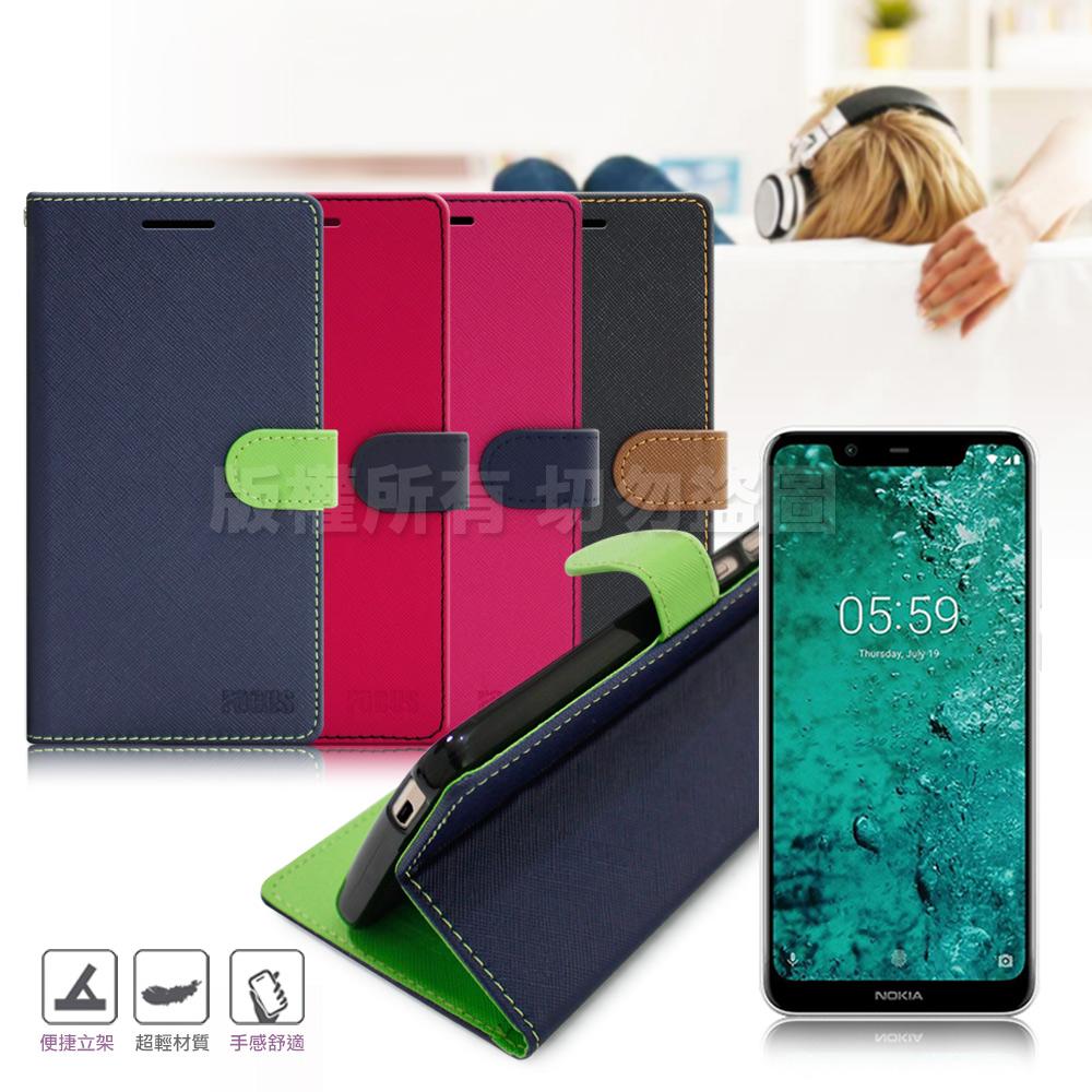 【台灣製造】FOCUS for Nokia 5.1 Plus 5.8吋 糖果繽紛支架皮套