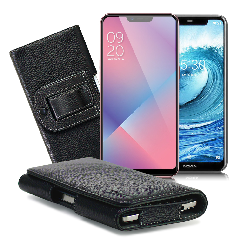 Xmart for OPPO AX5/Nokia 5.1 Plus/小米 F1 麗緻真皮腰掛皮套