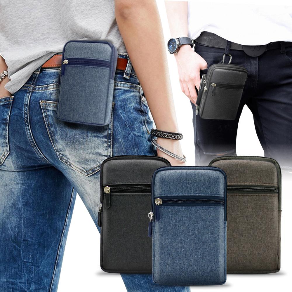 AISURE for iPhone11 /11 Pro /11 Pro Max 時尚雙層拉鍊帆布腰包