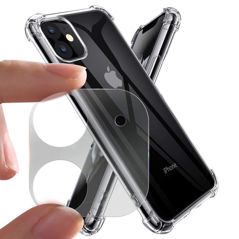 Xmart for iPhone 11 6.1吋 加強四角防摔空壓氣墊殼+一體成型鏡頭玻璃貼 組合