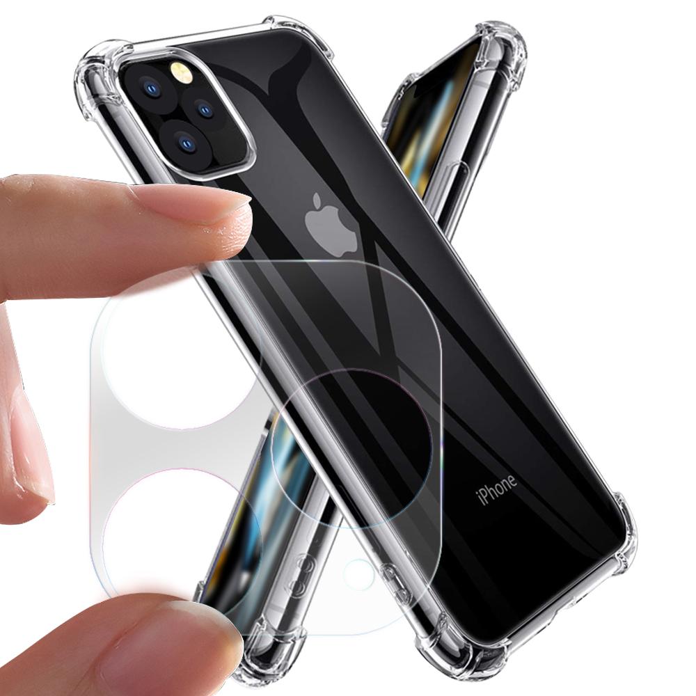 Xmart for iPhone 11 Pro Max 6.5吋加強四角防摔空壓氣墊殼+一體成型鏡頭玻璃貼 組合
