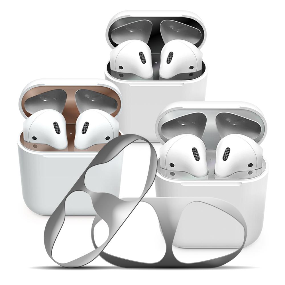 FOR AirPods 1/2代通用款金屬色防塵保護貼 黑點耳機盒防塵貼(2組入)