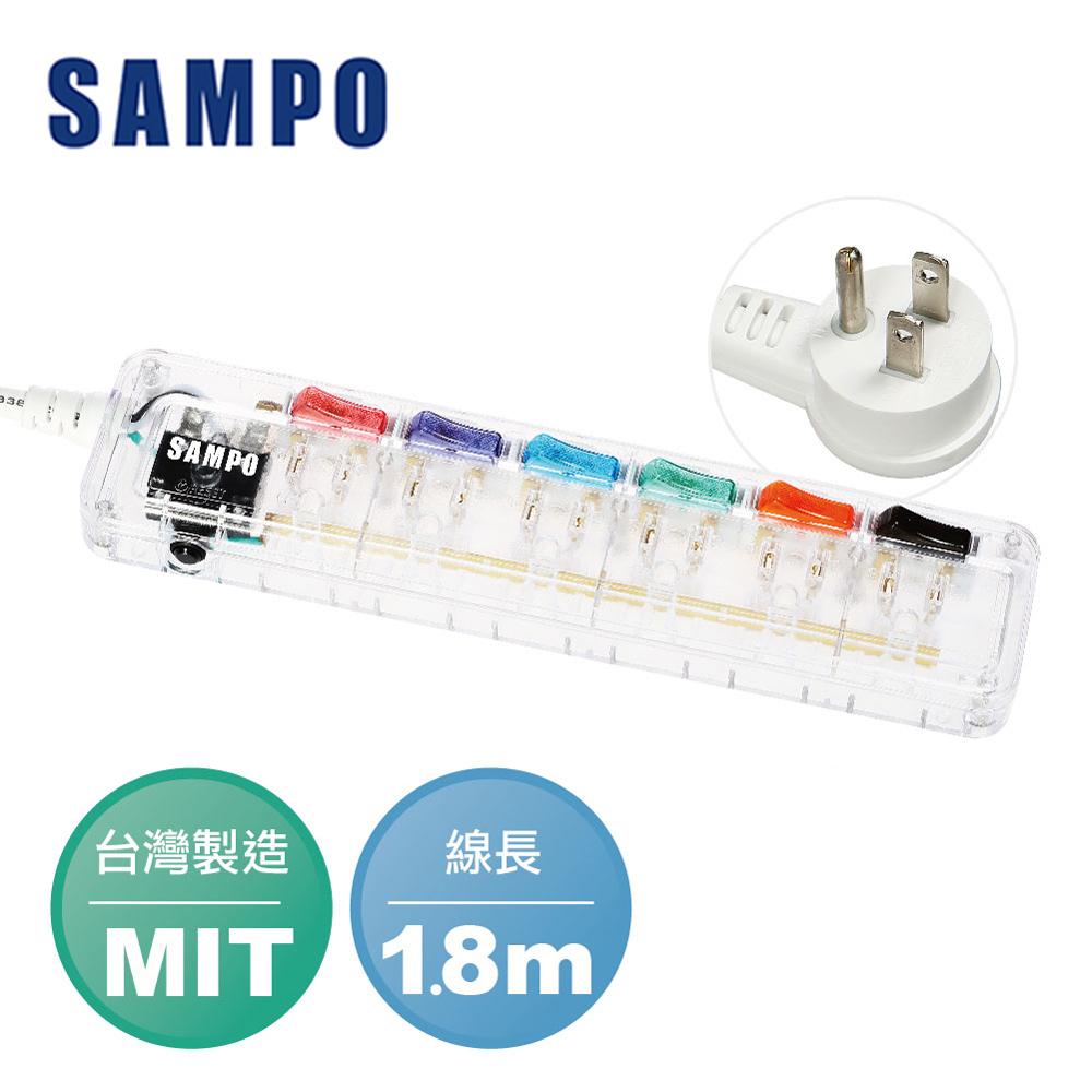 SAMPO 聲寶6切6座3孔6尺透明款延長線(1.8M) EL-U66R6TB(T)