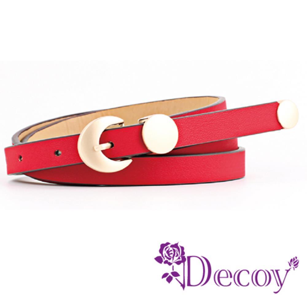 【Decoy】金屬圓幣*咖啡邊皮革細皮帶/紅