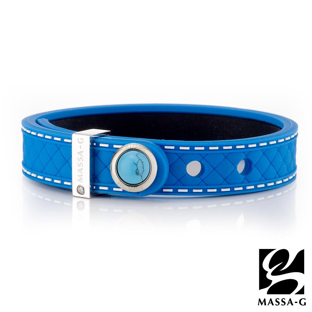MASSA-G ONLY U唯你天然石鍺鈦手環-品牌菱格紋(藍)