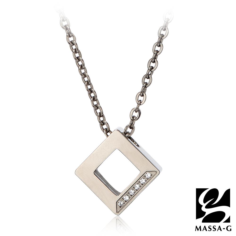MASSA-G LJ系列【晶點‧瑟蕾娜-方塊晶點】金屬鍺錠純鈦項鍊