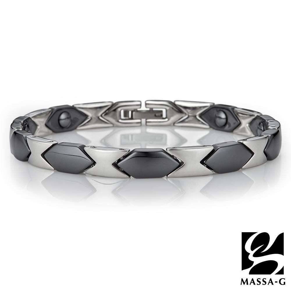 MASSA-G【黑白印記】精密陶瓷健康手環-黑
