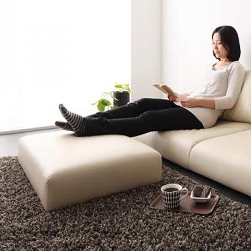 3月促銷價↘ JP Kagu 日系皮質落地沙發椅凳-米色