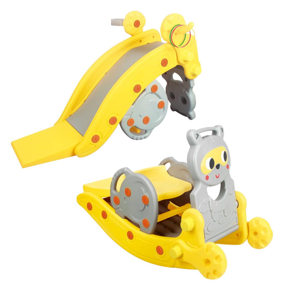 寶貝樂嚴選 可變造型多用途小浣熊溜滑梯變搖搖車