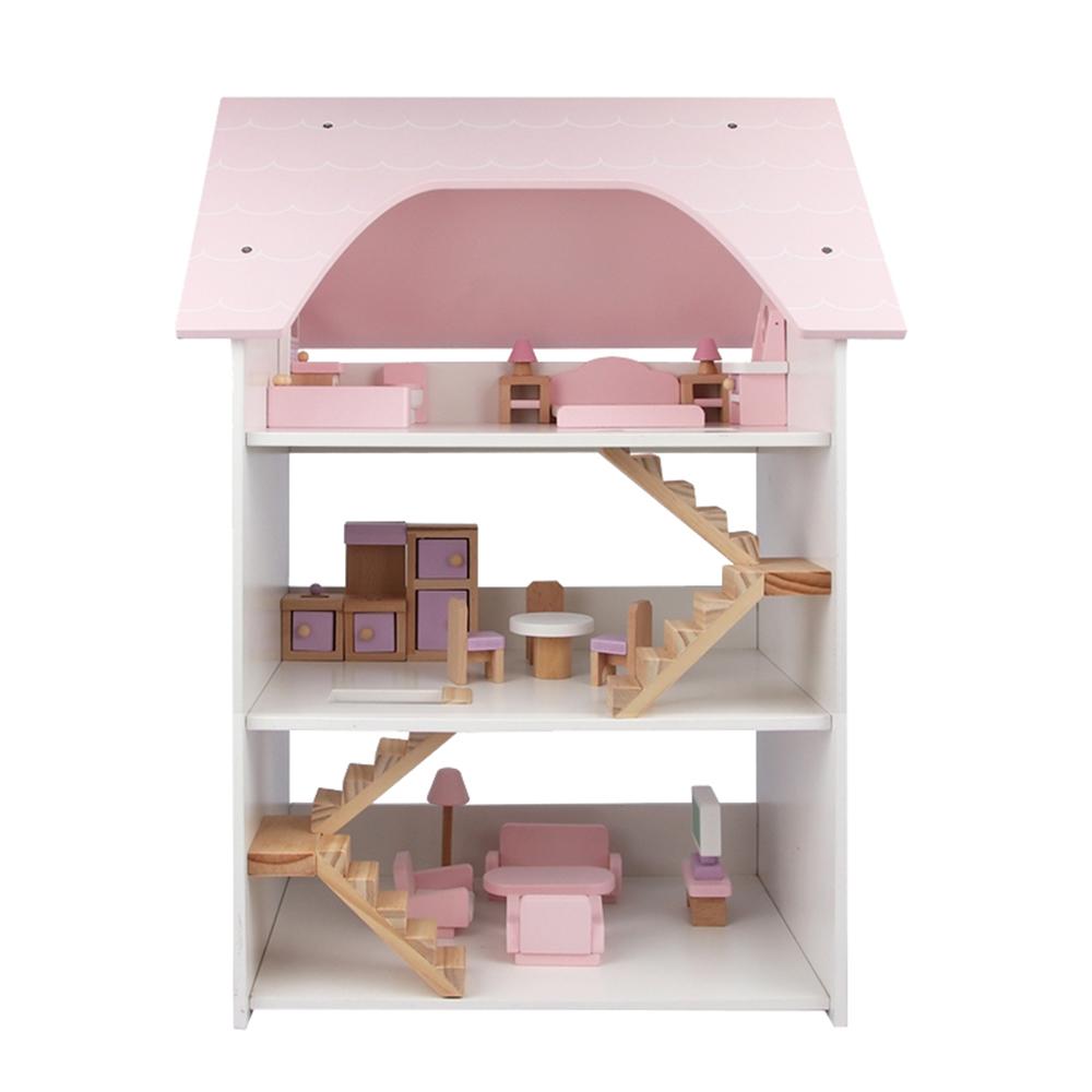 樂兒學嚴選 三層別墅木製玩具木製扮家家酒玩具組