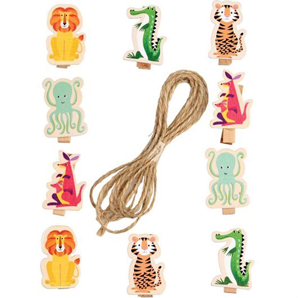 《Rex LONDON》掛繩+童趣木夾10件(動物園)